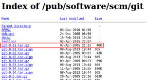 Der erste Release von Git 0.01 fand am 7.4.2005 statt.